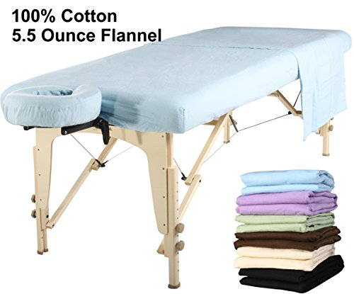 Master Massage  Universal Massage Table Flannel Sheet Set 3 in 1 Table Cover, Face Cushion Cover, Table Sheet, Sky Blue