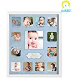 "Collage Photo Frame for Baby First Year Keepsake - 12 Months Picture Frames for Baby Boy Girl Newborn 1st Birthday-Gifts Ideas size 11""x13""x1"" with 13 Slots for Home Decor in White Frame Wood"