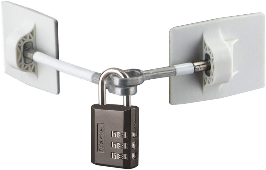 Refrigerator Door Lock with Combination Padlock - White (Black Combination Lock)