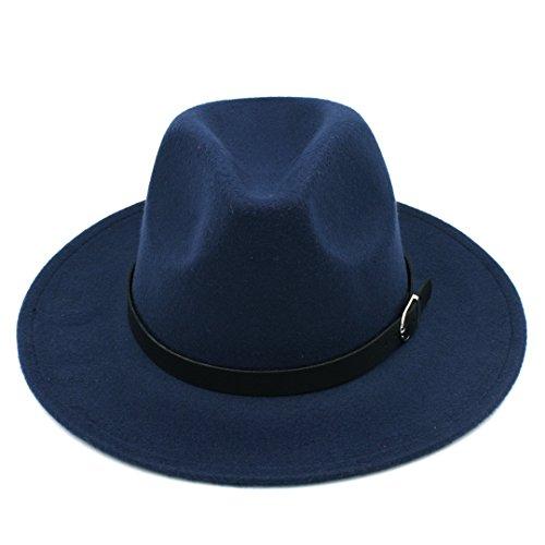 Navy Wool Cap - Elee Men Women's Wool Blend Panama Hats Wide Brim Fedora Trilby Caps Belt Buckle Band (Navy Blue)