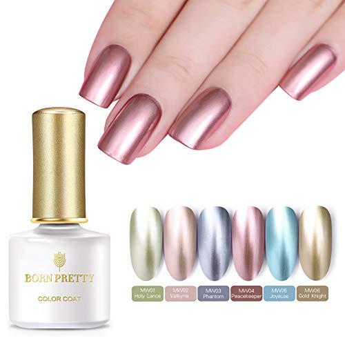 Born Pretty Metallic Gel Nail Polish Set,6 Colors Chrome Full Color Metal Mirror Effect Nail Lacquer Vanish Shinny Color Nail Gel, ()