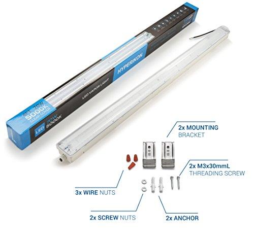 Hyperikon LED Vapor Proof Fixture 70W (150W Eq),7200Lm, 5000K (Crystal White Glow), UL & DLC 4.2, Clear Cover, Waterproof,IP65, 120-277v, Garage Lighting, Car Wash, Warehouse, Walk in Freezer, 1-Pack by Hyperikon (Image #6)
