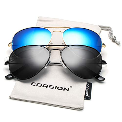 COASION Classic Polarized Aviator Sunglasses for Men Women Mirrored UV400 Protection Lens Metal Frame (Black/Black + Gold/Blue ()
