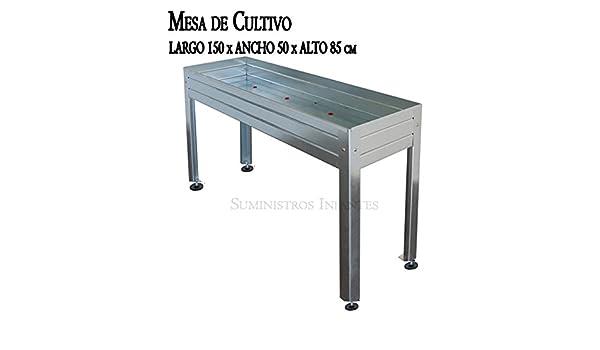 MESA DE CULTIVO Acero Galvanizado. Medidas: Largo 150cm x Ancho ...