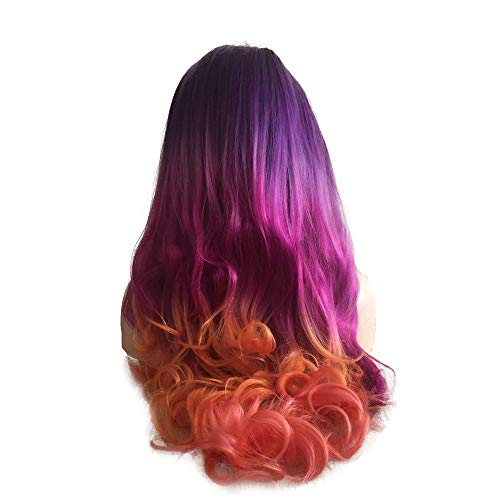 (Colourful Hair New Style Black Rooted Ombre Deep Purple/Lilac Pink/Peach/Orange Synthetic Lace Front Wigs For Drag Queen Women's Halloween Makeup 5 Tone Hair Wigs For Cospaly Party Long Body Wave)