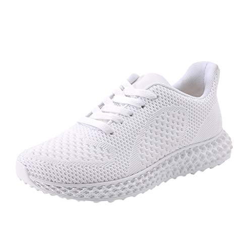 TnaIolral Men Running Shoes Non-Slip Breathable Lightweight Sneakers (US:8, White)