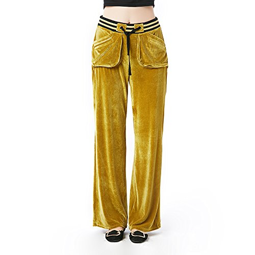 Beauty Garden Casual Loose Solid Long Pants Olive Green Elastic Waist Velour Fashion Female Pants