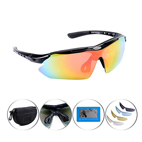 Anti Glare Black Frame Multi Sport Outdoor Running Cycling UV400 Polarized Sunglasses Goggle Changeable 5 Lenses Glasses Complete Set + Carrying Case with Hook