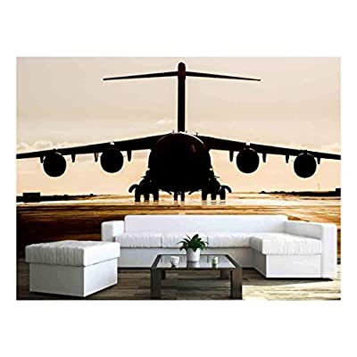 Wonderful Style, it is good, Large Military Cargo Plane Silhouette on an Empty airstrip