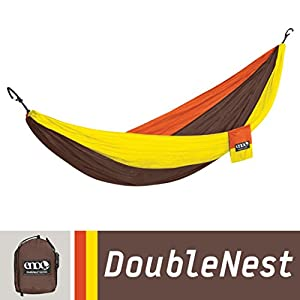ENO Eagles Nest Outfitters - DoubleNest Hammock, Portable Hammock for Two, Orange/Chocolate/Yellow