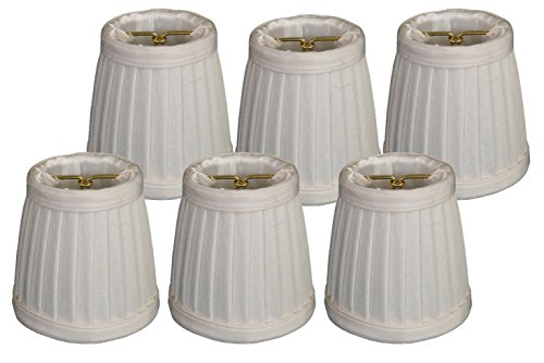 Royal Designs Pleated Empire Chandelier Lamp Shade, White, Set of 6, Size 3.5 (CS-109WH-6) ()