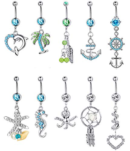 Thunaraz 14G Stainless Steel Dangle Belly Button Rings Set Navel Curved Barbells Piercing (10PCS Style B)