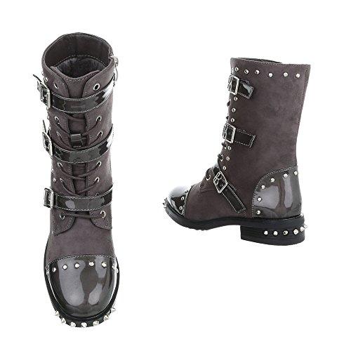 Women's Boots Block Heel Cowboy & Biker Ankle Boots at Ital-Design Grey A-51 DEeIp