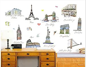 famous buildings Wall Stickers For Living Room Home Decor DIY Removable Wall Decals