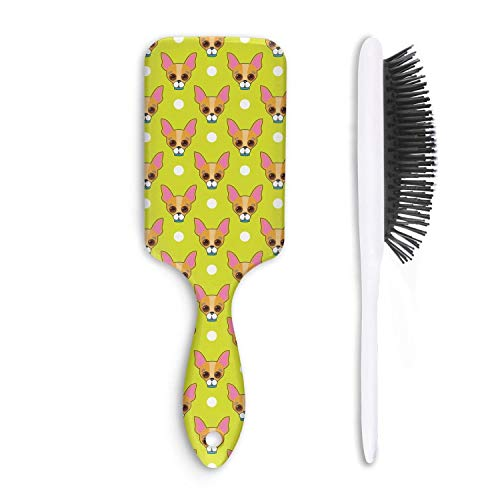 (Chihuahua Dog Face and Dots Yellow Unisex Hair Brushes Portable Fiber Anti Static Curly Hair Wide Tooth Comb Cat Hair Comb)