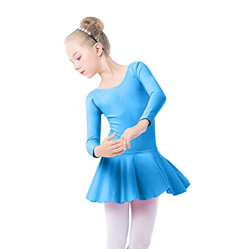 Ballet Dance Dress,Toddler Girls Child Cotton Ballet Dance Clothes Kids Gymnastics Leotard Training Dancewear Blue(Long sleeve) 2XL(7-8Y)