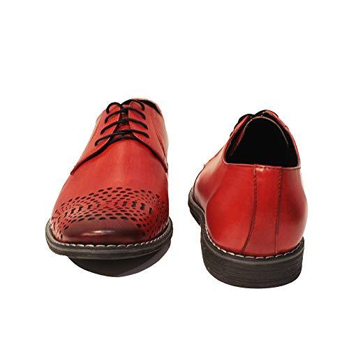 Hommes Cuir Lacer des Chaussures Peint la Redatto Oxfords de pour Cuir Modello Vachette Italiennes à Rouge Cuir Main Handmade UBwAqS4