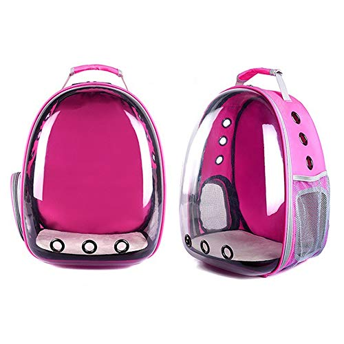 yangxiurongdedian Pet Backpacks?Portable Pet Cat Dog Puppy Backpack Carrier Bubble 360 Degree Transparent Space Capsule Backpack, Rose Red