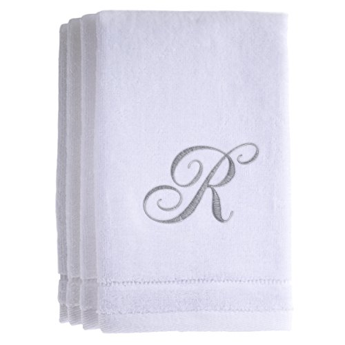 - Monogrammed Towels Fingertip, Personalized Gift, 11 x 18 Inches - Set of 4- Silver Embroidered Towel - Extra Absorbent 100% Cotton- Soft Velour Finish - For Bathroom/ Kitchen/ Spa- Initial R (White)