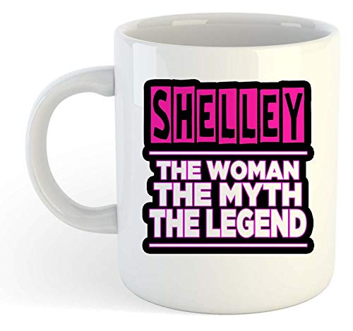 YellowStar.CN52 - Shelley - Name Personalised Funky Gift - The Woman, The Myth, The Legend Mug, 11oz Ceramic Coffee Mug/Cup/Drinkware, High Gloss