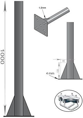 HD-LINE mástil con Soporte para Antena para balcón 1 m Antena parabólica 100 cm para Espejo – Parte Superior y Base y Techo y Montaje