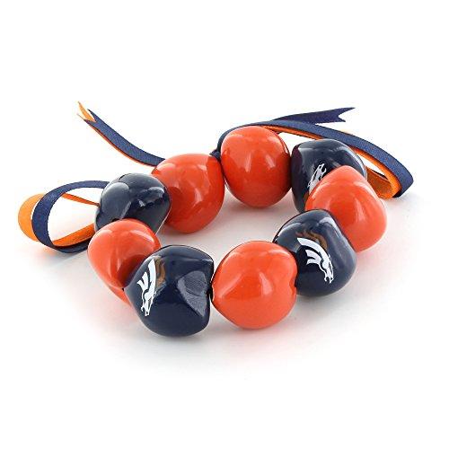 aminco NFL Denver Broncos Kukui Nut Bracelet, Orange/Blue ()