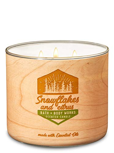 Bath & Body Works Snowflakes & Citrus Scented 3-Wick Candle 14.5 oz -