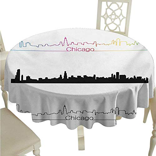 longbuyer Round Tablecloth spillproof Chicago Skyline,Metropolis City Panorama in Linear Rainbow Black Tones Architecture Modern,Multicolor D50,for Party