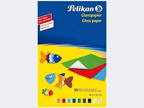 Pelikan 137935 Buntpapier, Tonpapier und Wabenpapier in Mappen Glanzpapier 30 x 18 cm gummiert