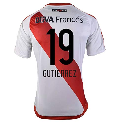 adidas River Plate Home Gutierrez 19 Jersey 2016/2017 (Fan Style Printing) - M