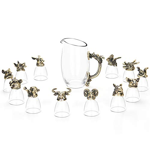 Shot Glasses Set with Chinese 12 Zodiac - Wine Cooler Animal Head Glass Mug Cup, Hand Blown Crystal Wine Glasses Made of Lead-free Glass
