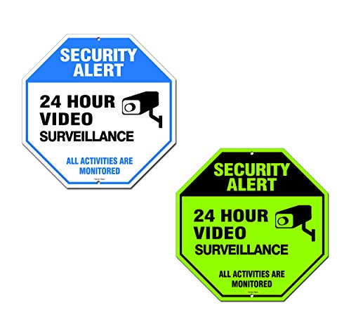 (Famtec Video Surveillance Sign - 40 mil Rust Free Aluminium - Glow-in-The-Dark-Signs, Home Business, 24 Hours Security, All Activities are Monitored -CCTV Security Alert-Large 12 X 12 Octagon (Blue))