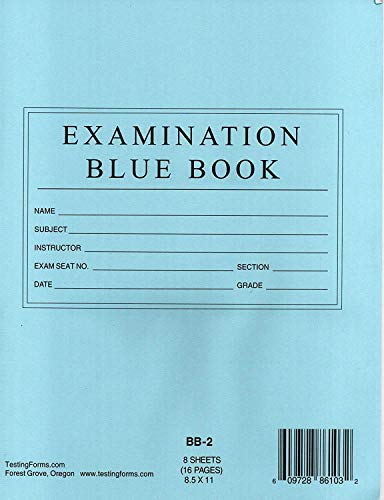 TestingForms.com Examination Blue Book 8 Sheets 16