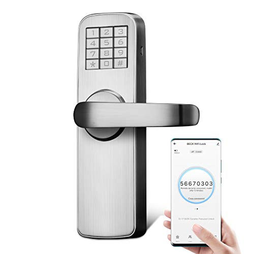 Manhaoya WiFi Electric Smart Door Lock intuitive Display Strong and Sturdy Smart Lock Front Door with Low Battery Alarm Function ((with app)Right-Hand)