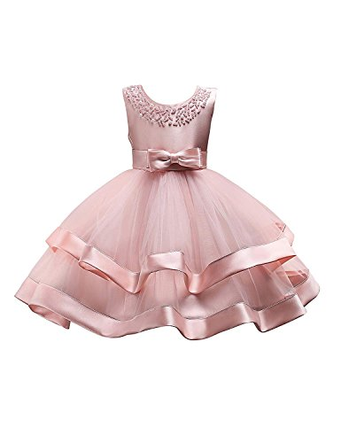 Toddler Girl Dresses 3T 4T Pink Prom Bridesmaid Flower Dress for Girl 4 Years Old Sleeveless Lace Ruffle Tutu Dress for Kids 3-5T with Pearls Beaded Wedding Birthday Party Dress Size 3-5 (Pink 26)