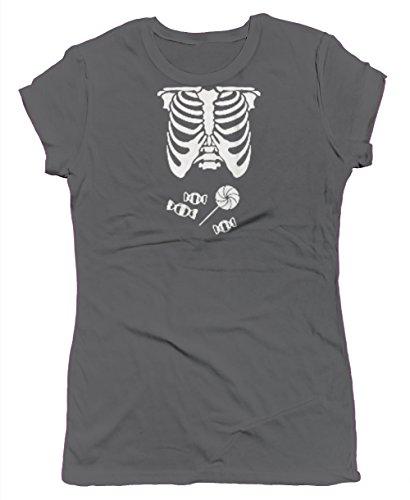 Halloween Baby Skeleton Ribcage Junior's T-shirt, SpiritForged Apparel, Dark Gray Small (Spirit Halloween Sf)