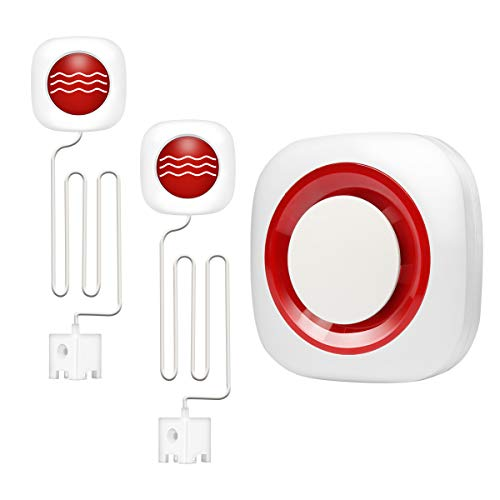 2 Pack Smart Water Leak Detector and Flood Sensor with GSM Alarm Host Kit (Sound-Light Alarm SMS/Call Notification) for Home Pool Warehouse Basement Business Protection