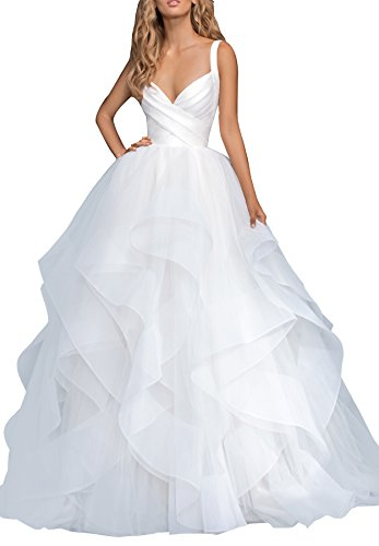 Beauty Bridal Women's V Neck Wedding Dresses For Bride 2018 Long Asymmetric Layered Tulle Bridal Gown J14 (20W,White) by Beauty Bridal