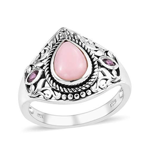 Pink Opal Rhodolite Garnet Solitaire Ring 925 Sterling Silver Jewelry for Women Size 7