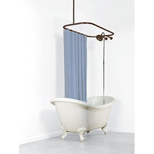 "lovely Never Rust Aluminum Oval Hoop Shower Rod with Ceiling Support for Clawfoot Freestanding Tubs - DARK OIL RUBBED BRONZE - 58""L x 24""W"