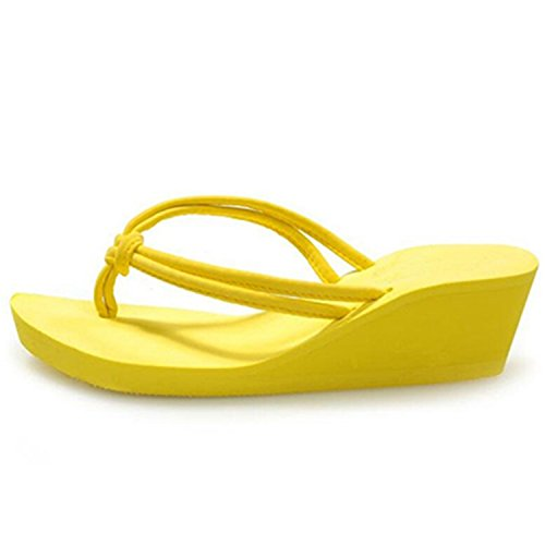 Rubber Leroyca Beach Shoes on Plain Women Flat Flops Slippers Yellow PU Casual Wedge Flip Sandals Slip EqxE4wr