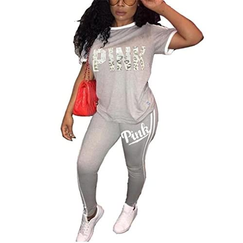 37cc45a1e47d7 ... Pants Tracksuits Set 50%OFF. DingAng Women Letter Print Two Piece  Outfits Short Sleeve T-Shirt Tops and Skinny Long