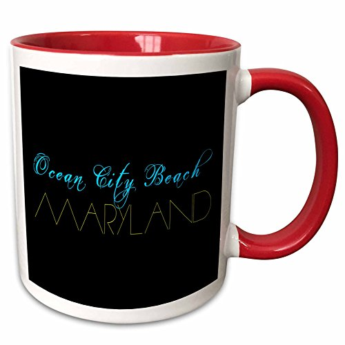 3dRose Alexis Design - American Beaches - American Beaches - Ocean City Beach, Maryland blue and yellow - 11oz Two-Tone Red Mug - Maryland Ocean Outlets City