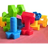 Jumbo Nuts and Bolts Set with Toy Storage and Book   Montessori Toddler Rainbow Matching Game Activities   Fine Motor Skills Autism Educational Toys for Baby, 1, 2, 3 Year Old Boy and Girl   40pcs …