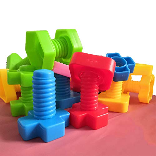 Jumbo Nuts and Bolts Set with Toy Storage and Book | Montessori Toddler Rainbow Matching Game Activities | Fine Motor Skills Autism Educational Toys for Baby, 1, 2, 3 Year Old Boy and Girl | 40pcs … (Motor Fine)