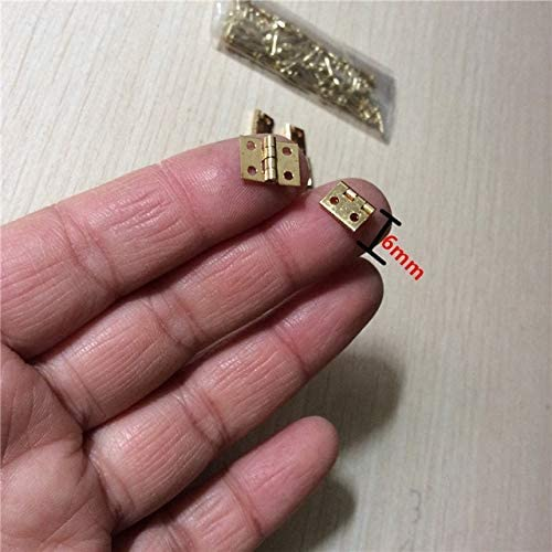 10Pcs 108mm Brass Mini Hinge Decor Door Hinges Wooden Gift Jewelry Box Hinge Fittings for Furniture Hardware+Nail