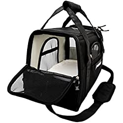 Soft Sided Pet Carrier Airline Approved Foldable Travel Tote bag for Small Dogs and Cats, Black