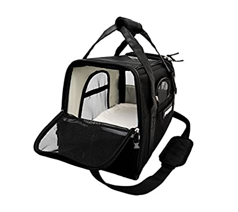 Lubber Soft Sided Pet Carrier Airline Approved Foldable Travel Tote bag with Fleece Bedding Safety Lock for Small Dogs and Cats, ()