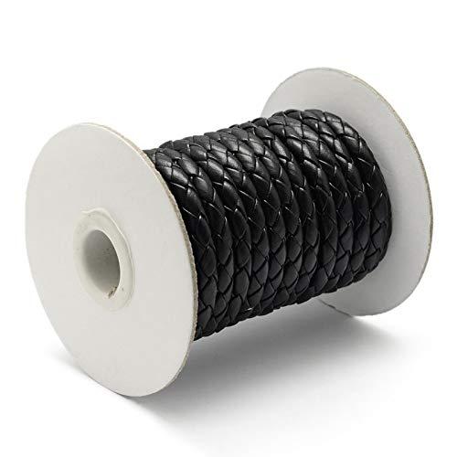 PH PandaHall 10 Yards Round Folded Bolo Braided Imitation Leather Cord Bolo Tie Black for DIY Necklace Bracelet Jewelry Making 5~6mm