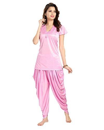 819df39e8a silk satin pink patiala night suit M size  Amazon.in  Clothing   Accessories